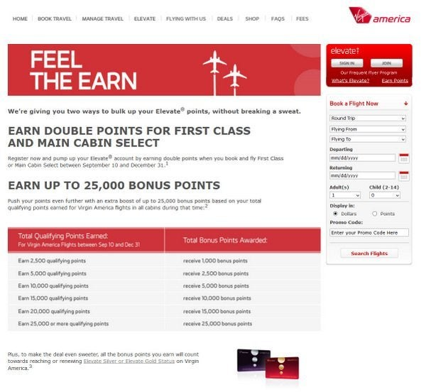 Virgin America Offering Double Points and Up to 25,000 Bonus Points
