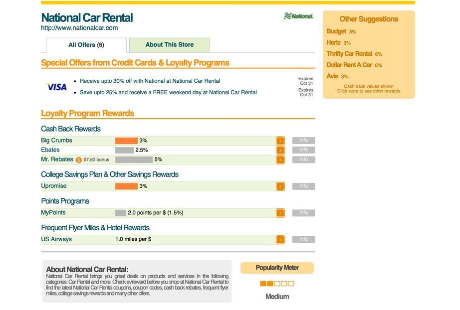Rapid Rewards® Members can earn points per qualifying rental at participating worldwide locations by requesting Rapid Rewards Points at the time of the rental or reservation. With National, a flight is not required in order to receive points, except in the case where the Member has multiple rentals on consecutive days in the same market.