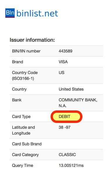 Is There A Way To Tell If A Card Number Is Debit Or Credit