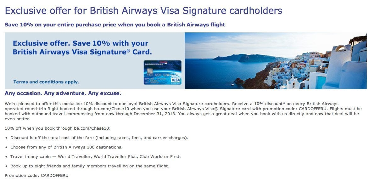 British Airways Card Holders Save 10% On All British Airways Flights