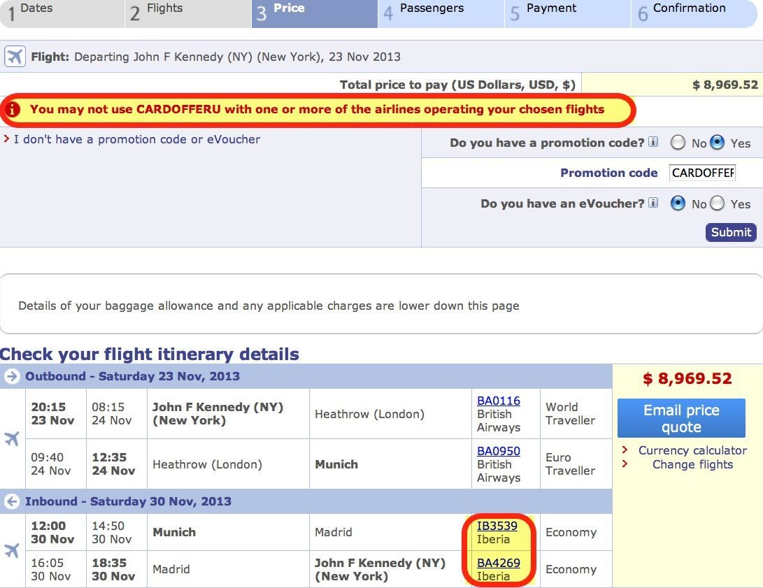 Discount Does Not Apply To Non British Airways Flights