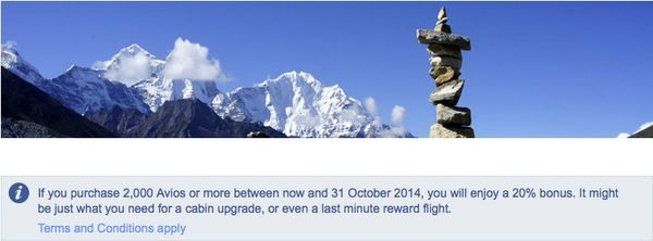 20 Bonus On Purchased British Airways Avios Points