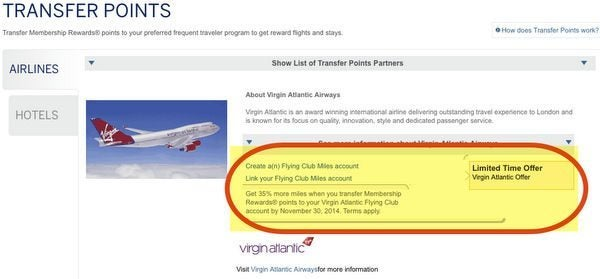 35% Bonus When You Transfer American Express Membership Rewards Points to Virgin Atlantic