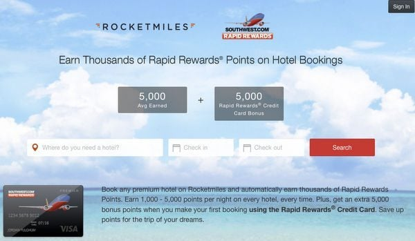 5,000 Southwest Points With 1st Rocketmiles Booking When You Use Your Southwest Card