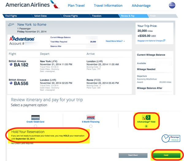 How Many Times Can You Put An American Airlines Award Ticket On Hold