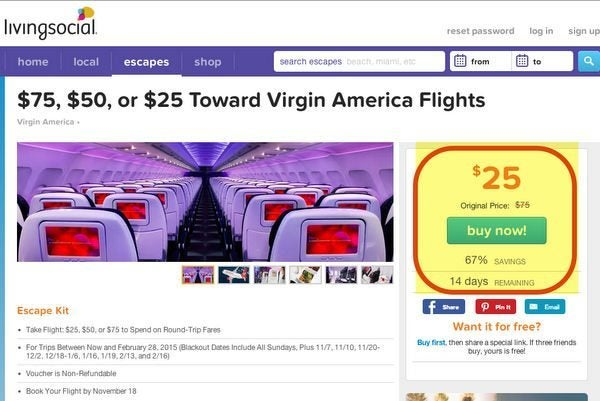 Save up to $75 off a Virgin America Flight