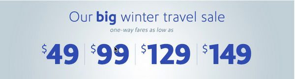 Southwest Big Winter Sale: Fares as Low as $49