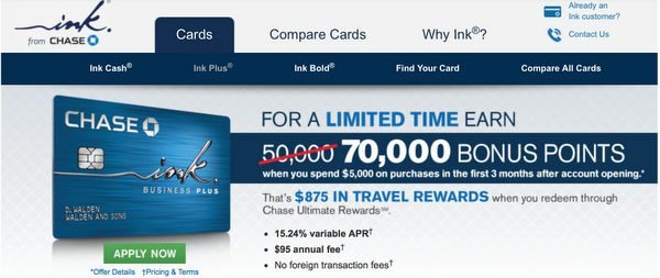 You Can Still Get 70,000 Points When You Sign Up For The Chase Ink Plus