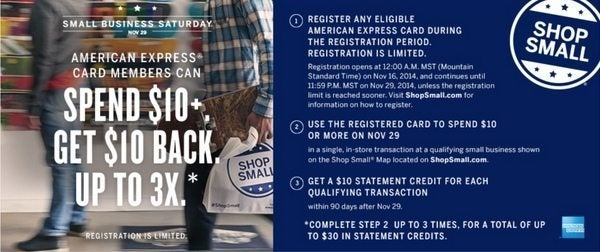 10 Fun Ways To Get The 30 AMEX Credit On Small Business Saturday