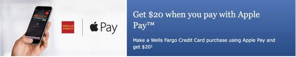 $20 Credit When You Use Apple Pay to Make a Purchase With Your Wells Fargo Credit Card!