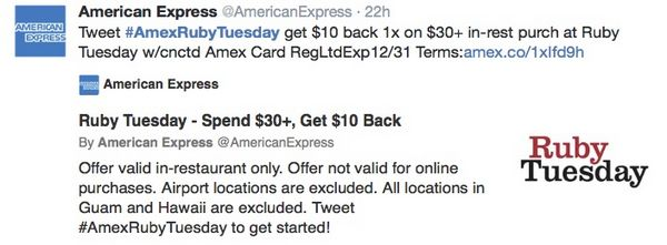 6 AMEX Offers: Easy $10 at Ruby Tuesday, $130 for Shopping