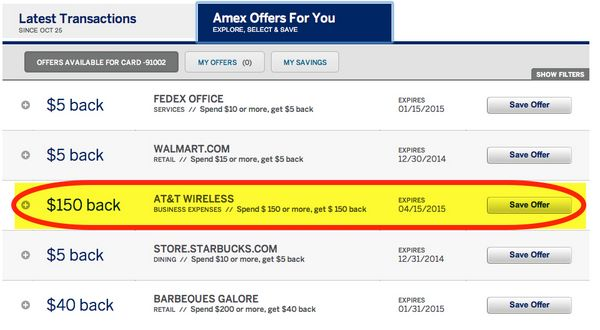AMEX Offers 150 Statement Credit With Payment Of ATT Wireless Bill