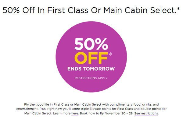 Act Fast Virgin America 50 Off Sale And JetBlue 20 Points Rebate