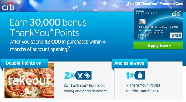 Better Bonus (30,000 Points or $300) for Citi ThankYou Preferred Card!