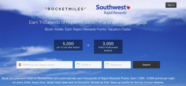 Earn 3,000 Southwest Bonus Points for Your 1st Hotel Booking With Rocketmiles