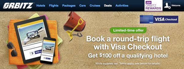 Save $100 Off a Hotel With Orbitz & Visa Checkout