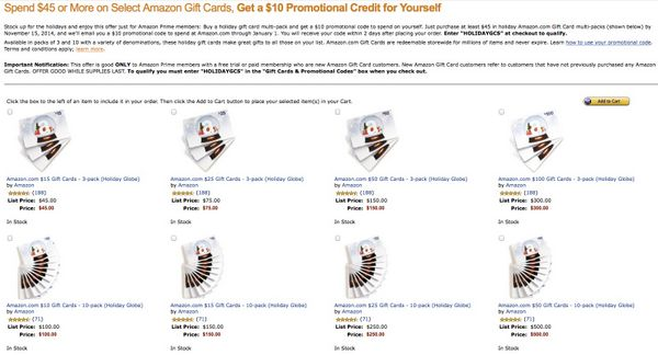 Spend $45 on Amazon Gift Cards, Get a $10 Amazon Credit