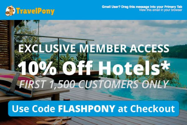 Today Only:  Save 10% on Discounted Hotels With TravelPony