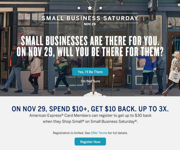 Up To Three 10 Statement Credits When You Register For AMEX Small Business Saturday