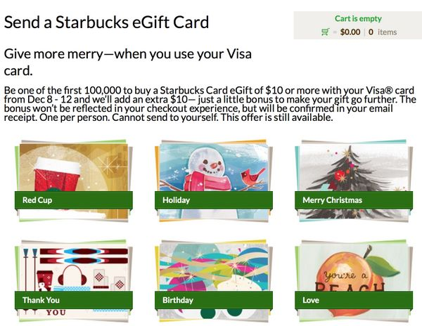 10 Bonus When You Send 10 Starbucks Card