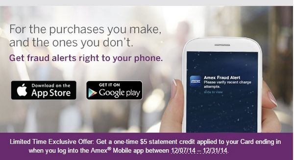 $5 for 1st Time AMEX Mobile App Users (Targeted)