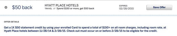 8 New AMEX Offers: $50 at Hyatt Place and More!