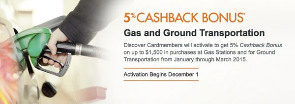 Activate Today for 5% Cashback on Gas and Ground Transportation With Discover Card