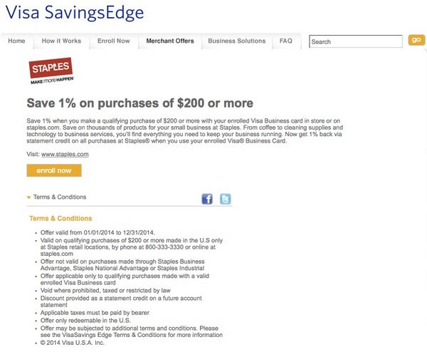 Ending Soon Visa SavingsEdge 1 Rebate At Staples