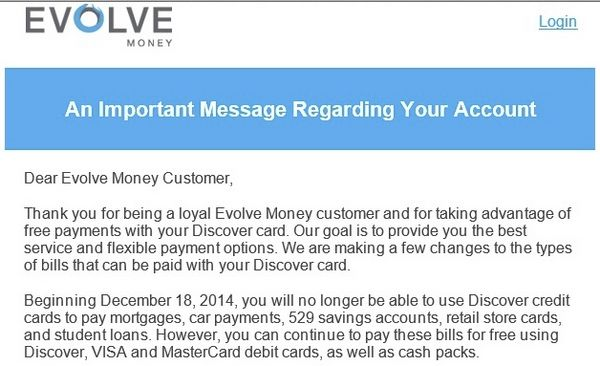 Evolve Money Stops Accepting Discover Card For Some Payments