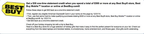 Get $30 When You Spend $300 at Best Buy (Targeted)