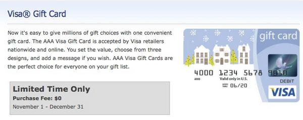 Limited Time No Fees On Visa Gift Cards At AAA