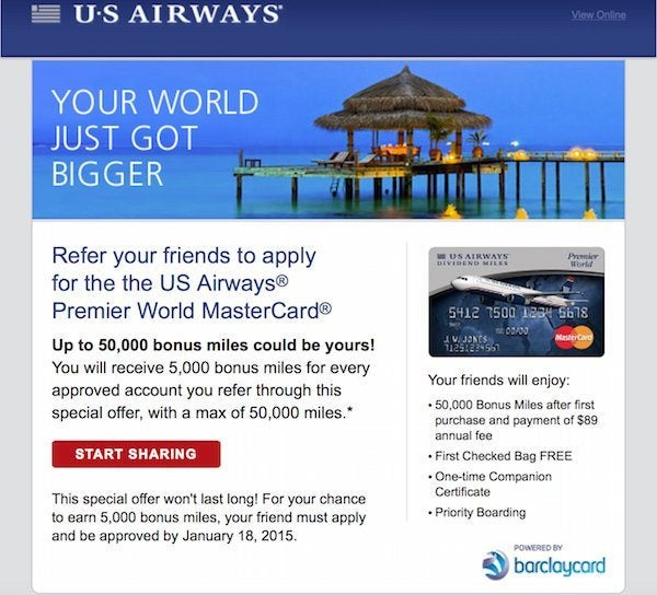 News You Can Use 50000 US Airways Miles Referring Friends 2X United Airlines Miles And More