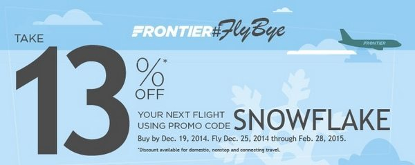 Today Only: Save 13% on Frontier Flights