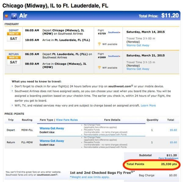 When Should You Book Southwest Award Tickets