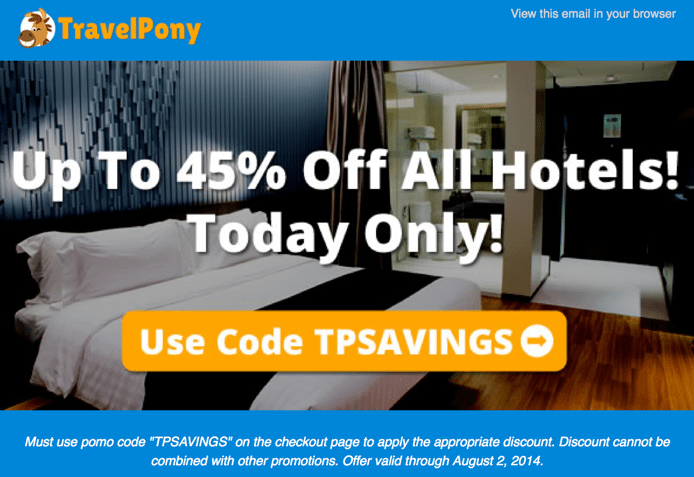 Today Only:  Save Up to 45% on Discounted Hotel Bookings With TravelPony