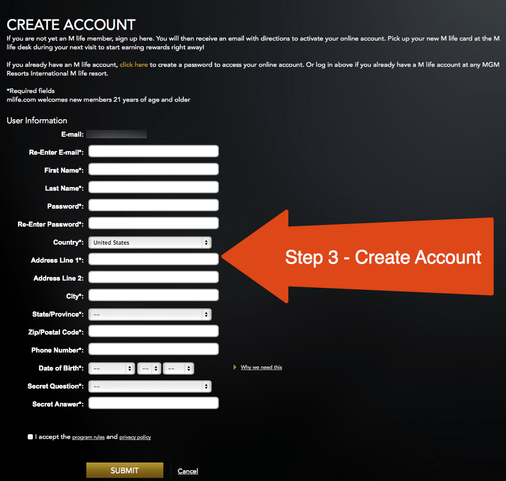 Step 3 - Create Account