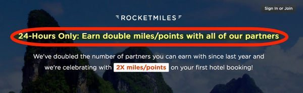 Ends Tomorrow: Double Miles on Your 1st Rocketmiles Hotel Booking!