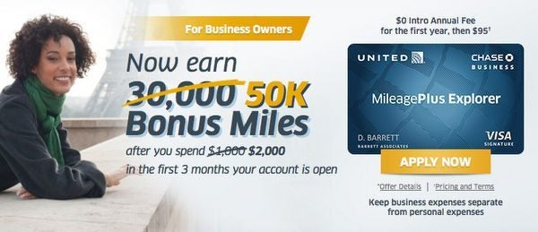 Limited Time Increased 50,000 Mile Bonus On The Chase United Business Card