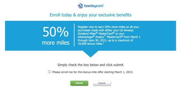 50 Bonus Miles On Spending For Barclaycard US Airways Cardholders