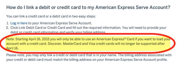 AMEX Serve Will No Longer Accept MasterCard Visa Discover For Credit Card Loads