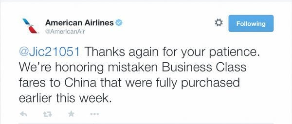 American Airlines Will Honor Mistake Fares To Beijing