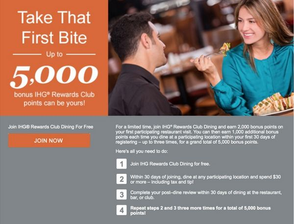 New IHG Rewards Club Dining Members Can Get Up To 5,000 IHG Points