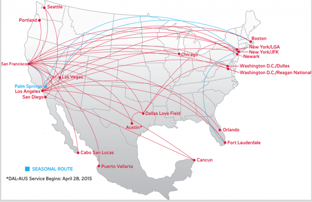 Virgin America's Route Map