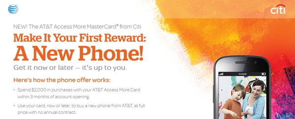 Earn A No Contract Phone Worth Up To 650 With New Citi ATT Access More Card SURL