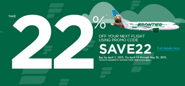 Today Only:  Save 22% on Frontier Flights!