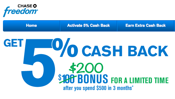 Credit Karma strives to provide a wide array of offers for our members, but our offers do not represent all financial services companies or products. Chase Freedom® Visa - $ Bonus Cash Back .