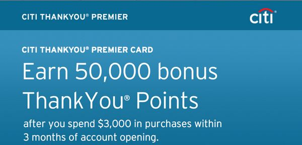 50,000 Thank You Points ($665 Value & 1st Year Fee Waived) With Citi Thank You Premier [Expired]