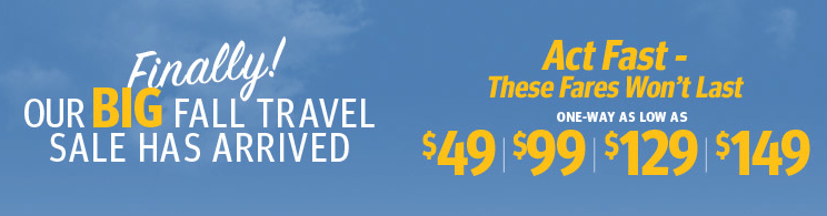 Only 72 Hours!  Southwest Fare Sale for Fall Travel