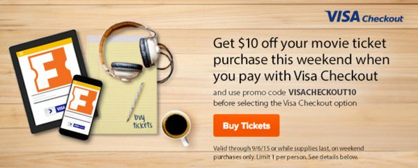 $10 Off Movie Tickets on Saturday & Sunday at Fandango With Visa Checkout!
