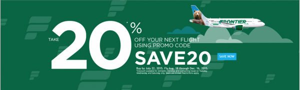 20% Off Flights on Frontier Airlines – Today Only!